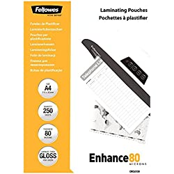 Fellowes 5312903 Enhance Pochettes de plastification brillantes A4 80 microns - Pack de 250 Transparent