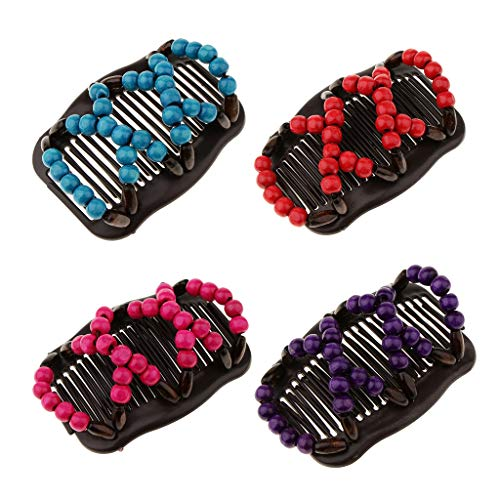 B Baosity 4 Pièces Peigne à Cheveux Double Elastique avec Perle en Bois Décoration de Cheveux