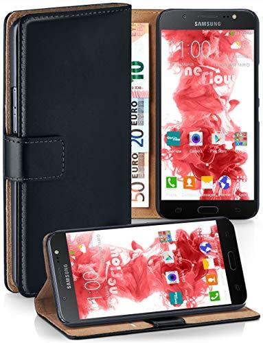 moex® Booklet mit Flip Funktion [360 Grad Voll-Schutz] für Samsung Galaxy J5 (2016) | Geldfach und Kartenfach + Stand-Funktion und Magnet-Verschluss, Schwarz