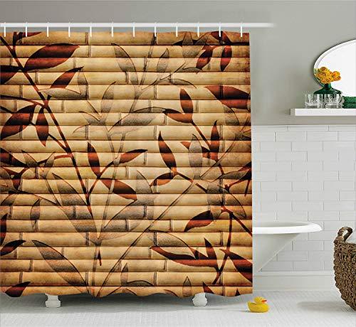Tan Bambus (ABAKUHAUS Beige Duschvorhang, Bambus-Blätter Bohemian, Bakterie Schimmel Resistent inkl. 12 Haken Waschbar Stielvoller Digitaldruck, 175 x 200 cm, Braun Tan beige)