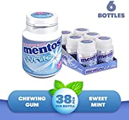 Mentos White Chewing Gum - Sweet Mint Flavour - Sugar Free - Great for Long-lasting Freshness - 38-piece Bottles (Multipack