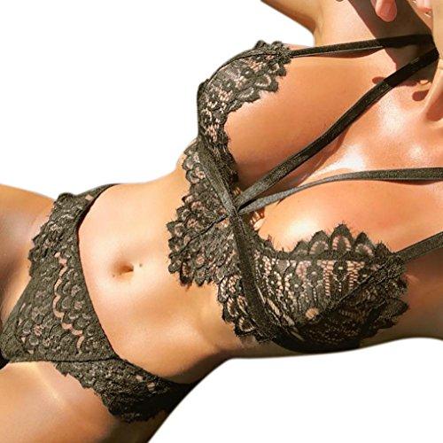Fuibo Dessous, Frauen Plus Size Dessous Korsett Spitze Blume Push-Up Top BH + Briefs Unterwäsche Set [ Sexy Unterwäsche Babydoll Body Dessous ] (L, Army Green)