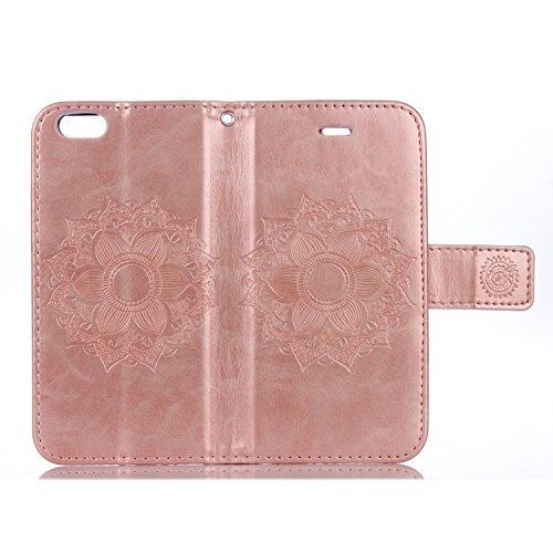EKINHUI Case Cover Für IPhone 6 & 6s Fall, Mandala Blume geprägtes Muster Schutzhülle Premium PU Leder Folio Flip Stand Brieftasche Case Beutel mit Lanyard & Halter & Card Cash Slots ( Color : Purple  Rose Gold