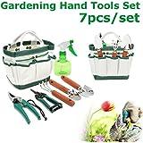 Set herramientas para jardinería multifunción Pathonor 7pcs herramientas de mano de jardín Spade Harrow tijera aspersor bolsa Mini herramientas de mano para Jardinería, plantas