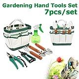Set Attrezzi per Giardino multifunzione Pathonor 7pcs utensili manuali per Giardino Pala Scissor Bottiglia di irrigazione Sacchetto Attrezzo per Giardinaggio,piante