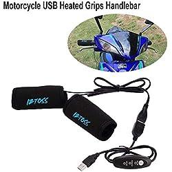 calefactables moto ATV Roller USB calefactables Puños Manillar con regulador de temperatura Interruptor Universal Motocicleta Hot Grip Warmer brazo