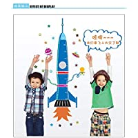 Shang1 Wall Sticker Rocket Height Wall Sticker For Kids Room Growth Chart Height Measure For Children Removable Pvc Wall Decals