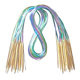 gohigher Lot de 18 Aiguilles à Tricoter circulaires en Bambou carbonisé 40 à 120...