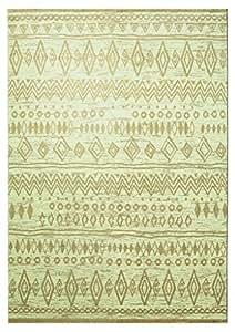 Tapis contemporain en polyester ethnique beige Contemporary Kelim