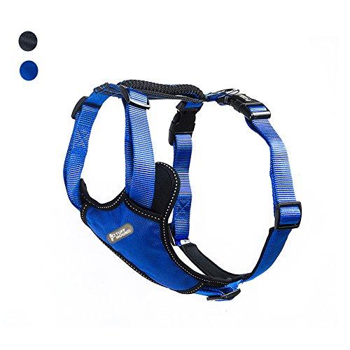 TUFF HOUND Arnés de Perro Oxford y Material de Nylon con Tira Reflectante, Malla Acolchada, tirando de Forma Anti-brusca, Diseñado para Perros medianos y Grandes (S, Blue)