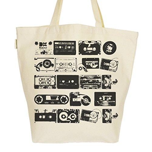Grand Sac Cabas Fourre-tout Imprimé Toile Bio 37x45x20cm Tote Bag XL - Cassettes audio Noir & Blanc