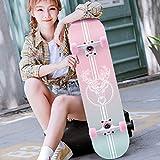 Skateboard Professionali Standard Skateboards Longboard Completo Concavo Deck 4 Ruote Acero per Bambini Ragazzi Ragazze Principianti per Adulti (Colore : B)