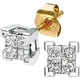 Naava Women's 9ct Yellow Gold 0.33ct Princess Cut Diamond Earrings