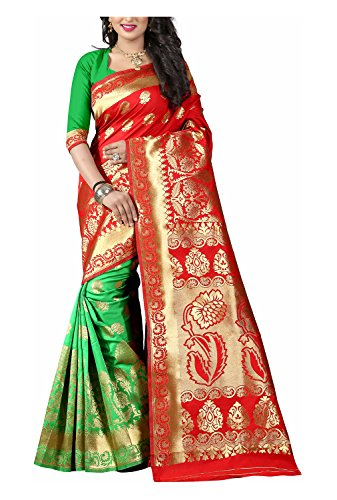 Alok Creation Women\'s Art Silk Saree (Red and Green)