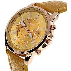 kingko® Genf römischen Ziffern Kunstleder analoge Quarz-Armbanduhr Gelb