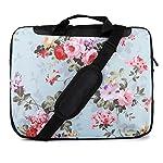 TaylorHe 15 / 15,6 Zoll Notebooktasche, Schultertasche für Notebook mit Muster , Laptoptasche mit Griff und Seitentaschen Laptop Bag bunte, Blumen
