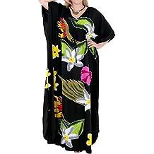 La Leela traje de baño de rayón beachwear de las mujeres cubre para arriba caftanes aloha camisa de dormir de múltiples negro
