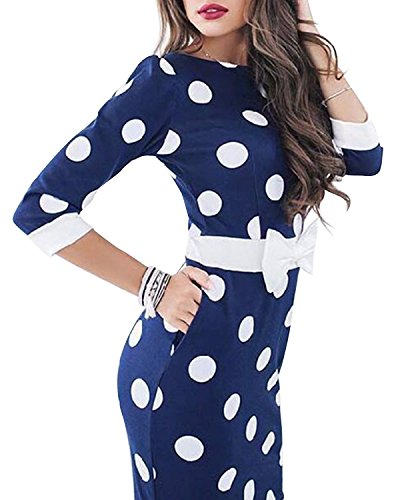 Kenancy Damen Bleistiftkleid Polka Dots Cocktailkleid Party Vintage Etuikleid Businesskleid Blau s
