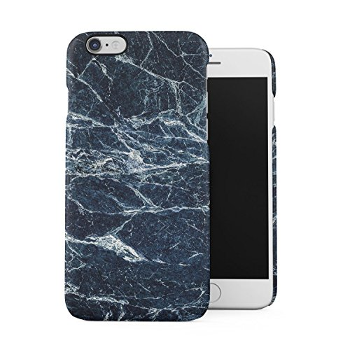 Black Cracked Marble Stone Print Apple iPhone 6 , iPhone 6S Snap-On Hard Plastic Protective Shell Case Cover Custodia Sapphire Blue