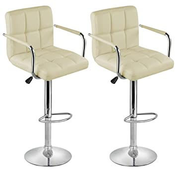 2 x cream breakfast bar stools faux leather barstools kitchen stool new chairs by lamboro amazoncouk kitchen u0026 home