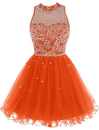 Bbonlinedress Robe de soirée de cocktail Robe de bal pailletée en tulle longueur genou Orange
