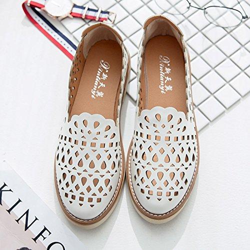 RUGAI-UE Estate sandali donne piede cavo Set Scarpe dello studente White