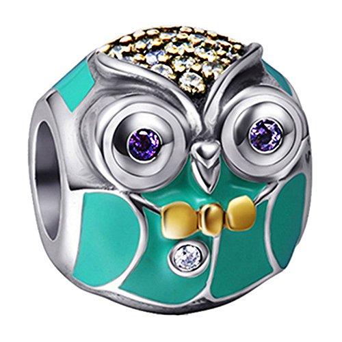 Ciondolo a forma di gufo, simbolo della laurea, in argento sterling 925, per gioielli pandora, biagi, troll, ecc