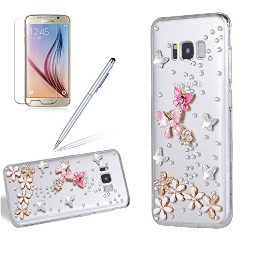 Luxus Glitzer Hülle für Galaxy S6 Edge Plus, Girlyard 3D Handmade Transparent Hardcase Schutzhülle Bling Diamant Schmetterlinge Blumen Muster Backcover Ultra Slim Shiny Sparkle Clear Handyhülle für Samsung Galaxy S6 Edge Plus