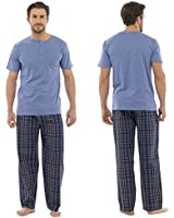 Mens Checked Bottoms And Matching T-Shirt Pyjama PJ Nightwear Sleepwear Set New