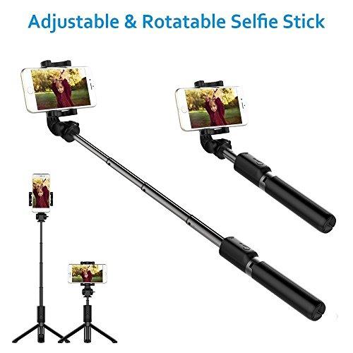 Bovon SF-01 Selfie Stick Stativ mit Bluetooth-Fernauslöser Schwarz - 4
