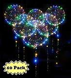 Zodight 10 PCS Palloncini con Stringa LED Multicolore 18 Pollici LED Palloncino a Elio Trasparenti Bobo Decorazione per Feste, Compleanni, Matrimoni, Natalizi