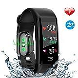 Fitness Tracker, HDTOSNER Wasserdicht IP68 Smartwatch mit Pulsmesser & Blutdrucküberwachung Aktivitätstracker Fitnessarmband für Android und iOS (Schwarz)