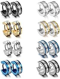 Aroncent Pendientes de Acero Inoxidable Hipoalergénico Aretes de Aro Pulido Brillante Earrings Plugs de Moda Conjunto de Joyería Cuerpo para Hombre 16PCS