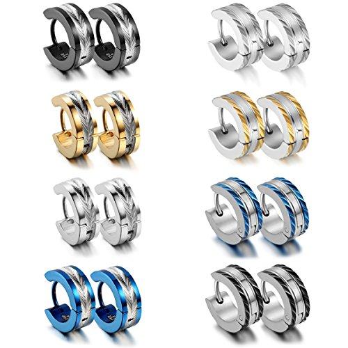 Aroncent 8 Paare Herren Creolen, klassische Edelstahl Ohrringe Ohrhänger Ohrstecker, Schwarz Gold Silber Blau