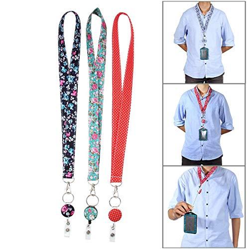 KOBWA - Llavero de Seguridad para Enfermeras y Profesores, 3 Unidades, 2 en 1, retráctil, Carrete con Clip Giratorio de cocodrilo de 360°, Cierre de Seguridad
