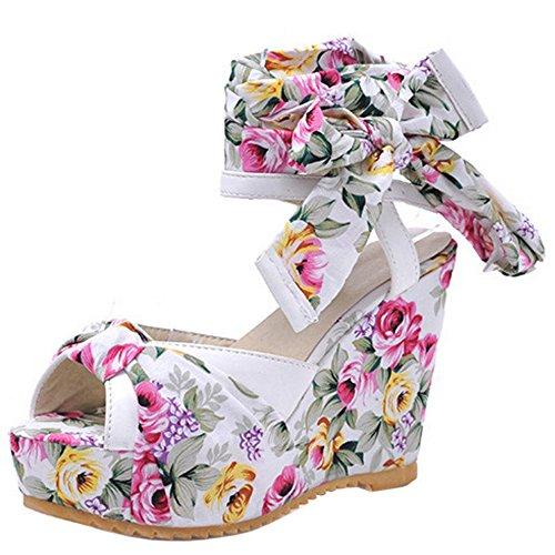 Sandálias Fivela Fashion-evento Peep-toe Cunha Floral Calcanhar Slingback Das Mulheres Taoffen Bege