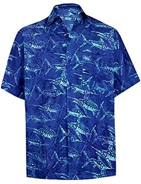 *La Leela* Albero Aloha Button Down Camicia Hawaiana squalo Blu Reale Degli Uomini del Cotone