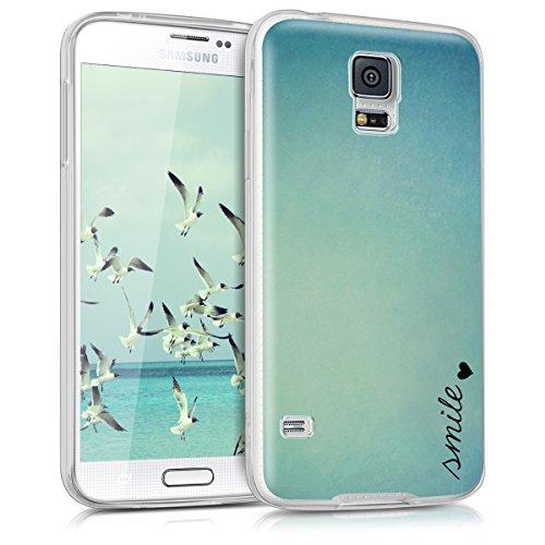 kwmobile Samsung Galaxy S5 / S5 Neo Cover - Back Case per Samsung Galaxy S5 / S5 Neo Custodia in Silicone TPU Trasparente Blu/Turchese