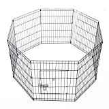 PawHut 8 Panel Pet Cage Playpen Dog Puppy Rabbits Guinea Metal Crate Fence Run Cage Kennel Indoor Outdoor (30-inch)