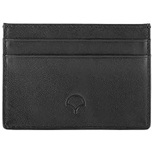 Genuine Leather Credit Card Holder Wallet & Giftbox, Black - RFID Blocking, 5 Pockets, Slim Design