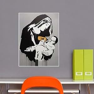 Banksy Biberon Nonne mur vinyle