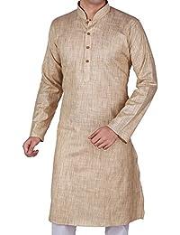 Vastramay Men's Cotton Beige Kurta (Color: Beige & White)