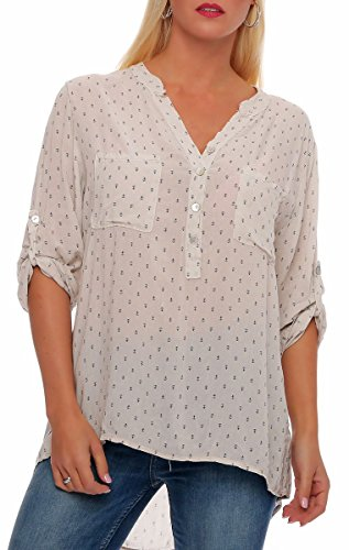 Malito Damen Bluse mit Anker Print | Tunika mit u00be Armen | Blusenshirt auch Langarm tragbar | Elegant - Shirt 9013 (beige)