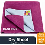 Bey Bee Waterproof Bed Protector Baby Care Sheet, Large, Rani Pink (140 cm x 100 cm)