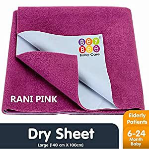 Bey Bee Waterproof Bed Protector Single Baby Care Sheet - Large (Rani Pink)