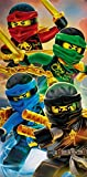 'Lego Ninjago Toalla 'Diseño Team 70cm x 140cm, embalaje original–strandlaken–Playa–Toalla de mano–100% algodón–Cole–Jay–Kai–Lloyd–Zane–Nya–Misako–Sensai WU