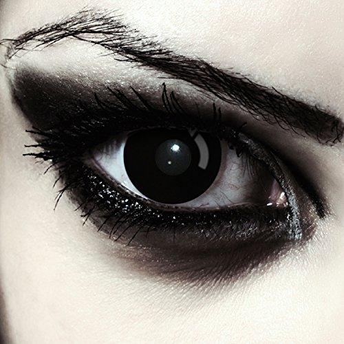 "Lentillas de color negro totalmente para Halloween zombie lentillas sin dioprtías / corregir + gratis caso de lente ""Blackout"""