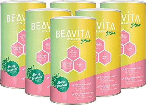 BEAVITA - Vitalkost Plus | Poudre 6 x 572g | Saveur Framboise-Yahourt | Substitut de repas minceur | Shake délicieux pour un régime et une perte de poids faciles | Partenaire idéal pour une ligne de rêve | Sans gluten, sans substitut de sucre