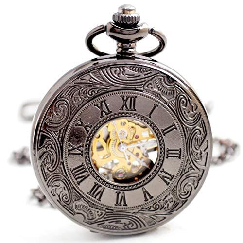 MEIEI Quarz-Taschenuhr, mechanische Taschenuhr-Kettenhohlmechanische römische Taschenuhr-Männer zufällige große mechanische hängende Uhr mit Geschenkbox (Color : Gun Color)
