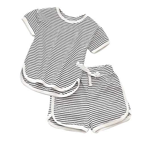 2Pcs Set Kleinkind Kinder gestreiften Tops T-Shirt + Shorts Hose Set (Grau,90) ()